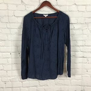 Sonoma long sleeve navy top size: M